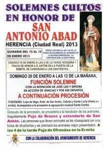 Actividades de la hermandad de San Antón para el 2013