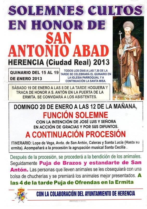 Actividades de la hermandad de San Antón para el 2013 - Cultos en honor a San Antonio Abad
