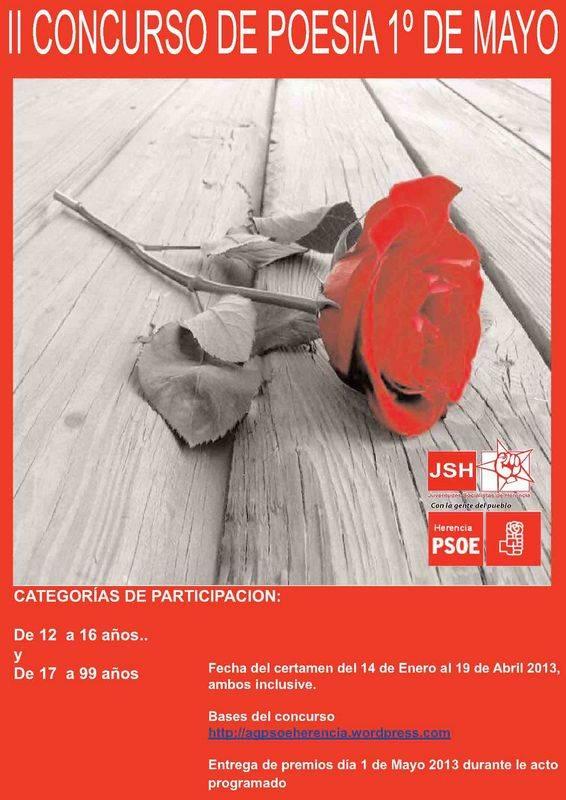 Concurso Poesía 1º de Mayo Psoe Herencia - Convocado el II Concurso de poesía 1º de Mayo