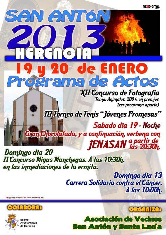 programa de actos Herencia San Antón 2013 - Programa de actos de la Asociación de Vecinos de San Antón y Santa Lucía con motivo de sus fiestas de barrio