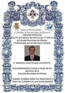 Cartel Preg%C3%B3n de Semana Santa 2013 212x300 - Manuel Díaz-Plaza dará el pregón de Semana Santa el sábado 23 de febrero