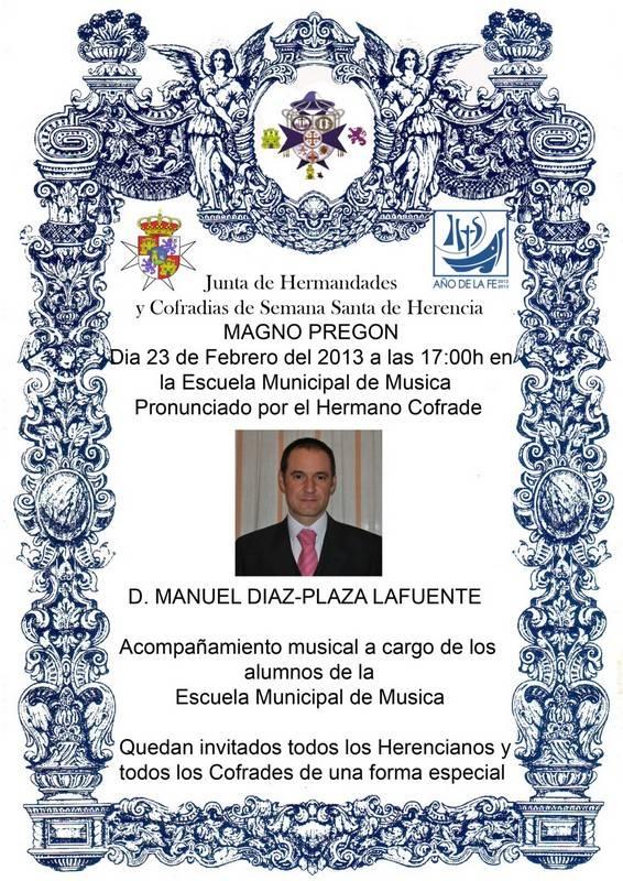 Cartel Pregón de Semana Santa 2013 - Manuel Díaz-Plaza dará el pregón de Semana Santa el sábado 23 de febrero