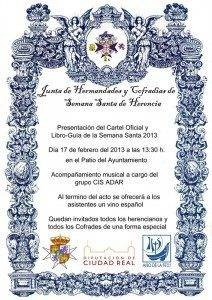 Cartel oficial presentación  libro-guía y cartel de la Semana Santa herenciana 2013