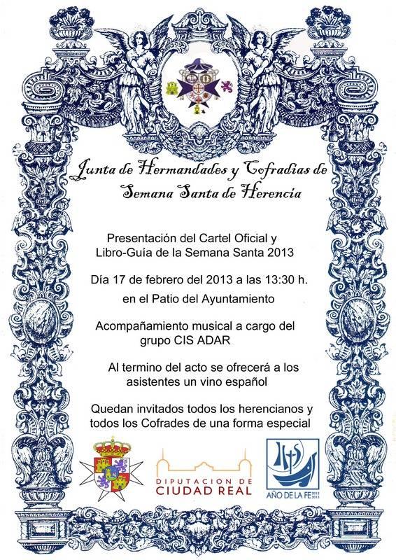 cartel oficial presentacion libro guía semana santa 2013 - Acto de presentación del libro-guía y cartel de la Semana Santa herenciana 2013