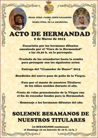 """Cartel anunciador del Acto de Hermandad de """"Los Moraos"""""""