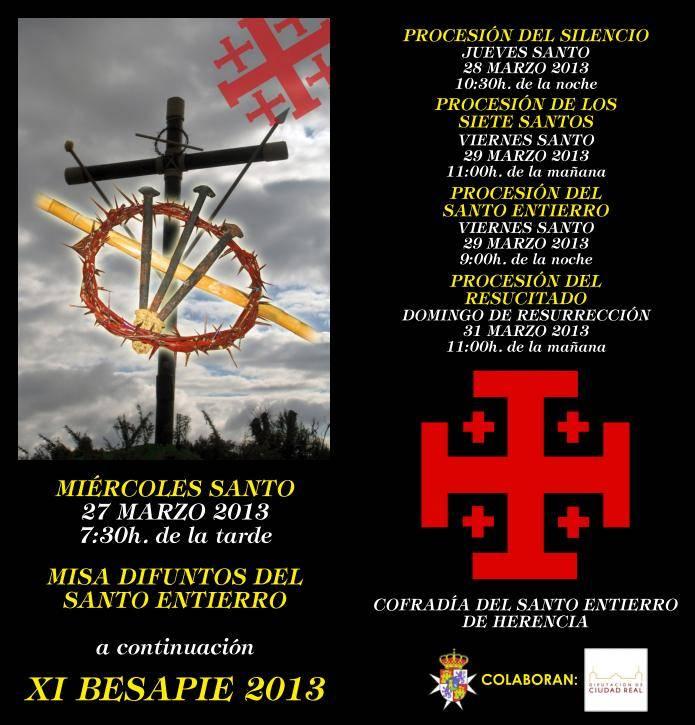 Herencia Programa de Actos de la Cofradía del Santo Entierro - Besapié y otros actos cofrades de la Hermandad del Santo Entierro