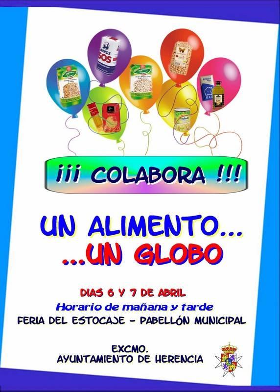 Campaña del ayuntamiento de Herencia un alimento un globo - Campaña de recogida de alimentos durante la II Feria del Estocaje de Herencia