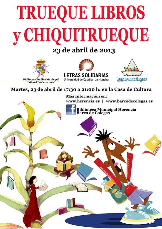 Cartel de intercambio de libros en Herencia