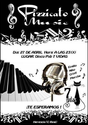 Concierto Pizzicato Music en Herencia - Pizzicato Music dará un concierto en disco-pub 7vidas