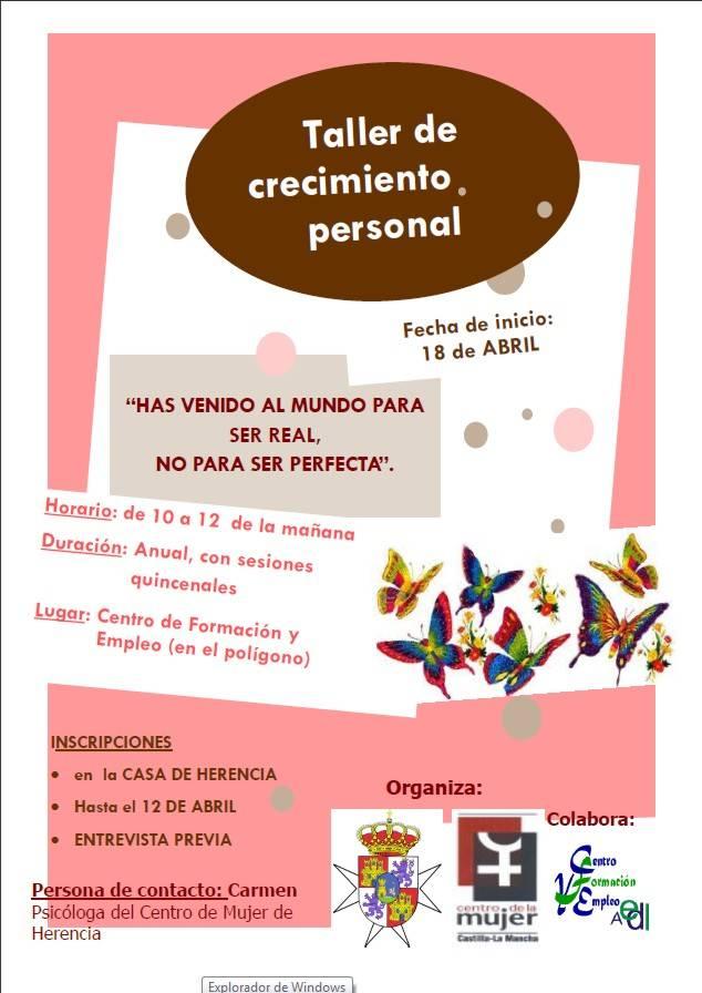 Herencia cartel taller de Crecimiento Personal del Centro de la Mujer de Herencia - El Centro de la Mujer prepara un taller de crecimiento personal