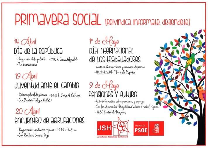 Herencia Jornadas juventudes socialistas Primavera Social - García-Page, Caballero, Talegón, Isabel Rodríguez o Magdalena Valerio en la 'Primavera Social' de Herencia