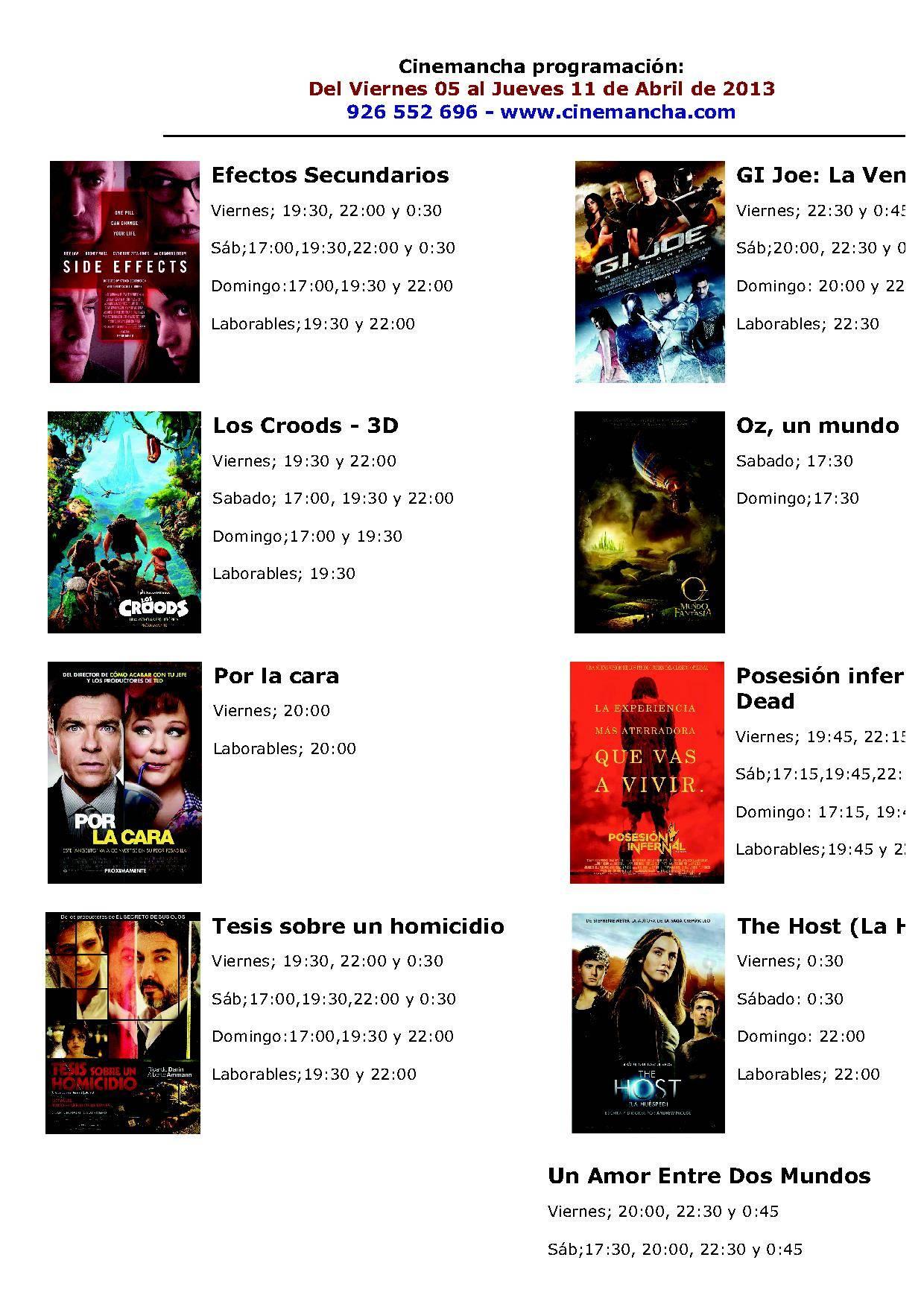 Programación Cinemancha del viernes 5 al jueves 11 de abril 1