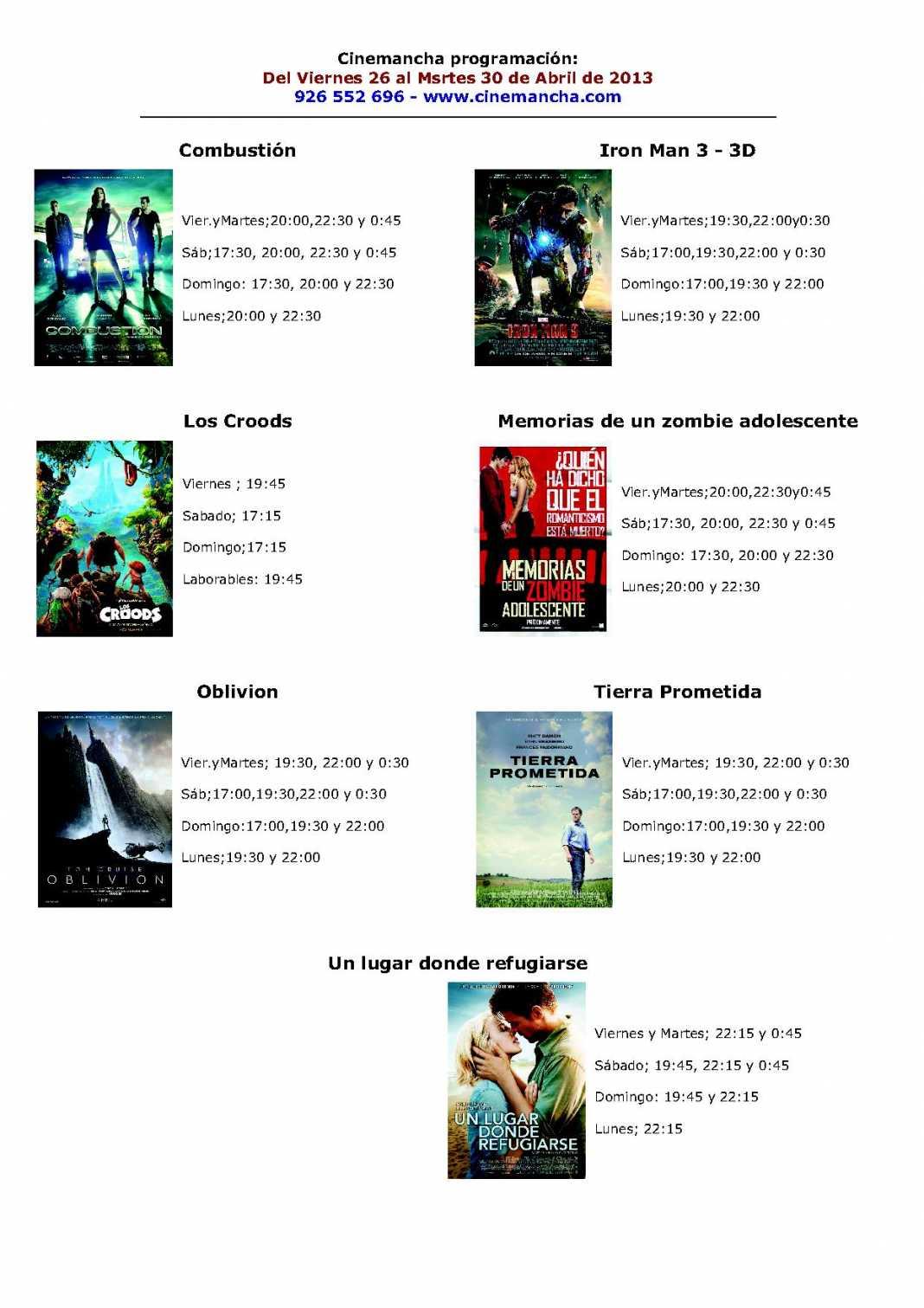 Programación Cinemancha del viernes 26 al martes 30 de abril. 1