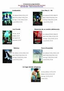 cartelera de cinemancha del viernes 26 al martes 30 de abril