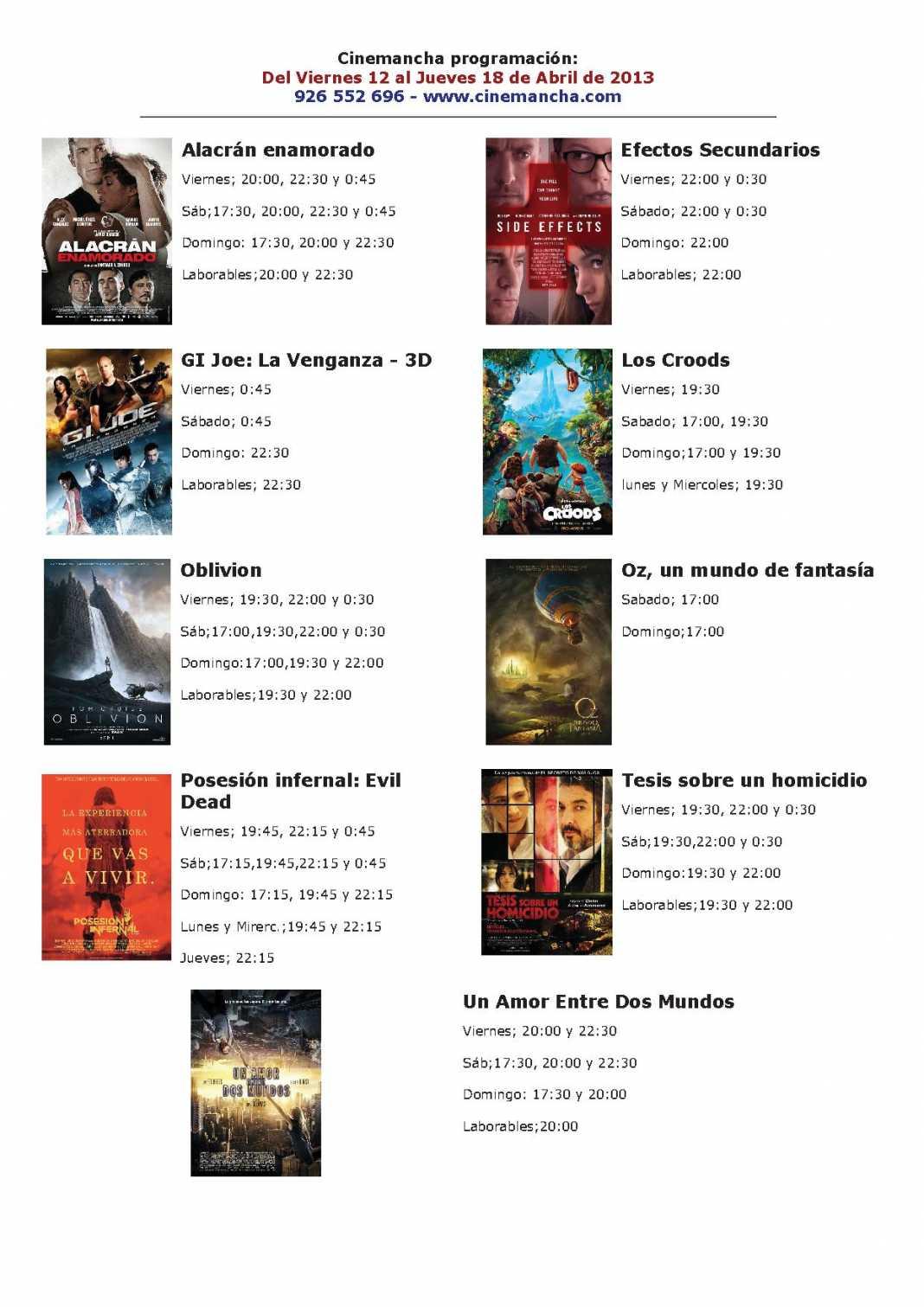 Programación Cinemancha del 12 al 18 de abril. 1