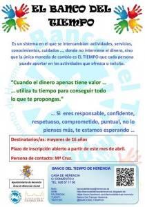 herencia cartel banco del tiempo 210x300 - Vuelve el Banco del Tiempo de Herencia