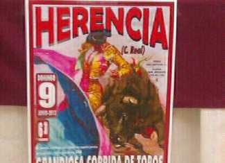 Cartel corrida de toros de Herencia junio 2013