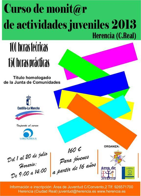 Cartel curso de monitores juveniles Herencia 2013 - Juventud prepara un curso de monitor de actividades juveniles
