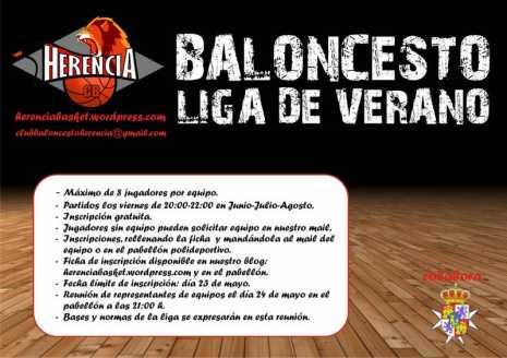 Cartel liga de verano de baloncesto de Herencia 465x328 - Abierta la inscripción para la liga de verano de baloncesto de Herencia