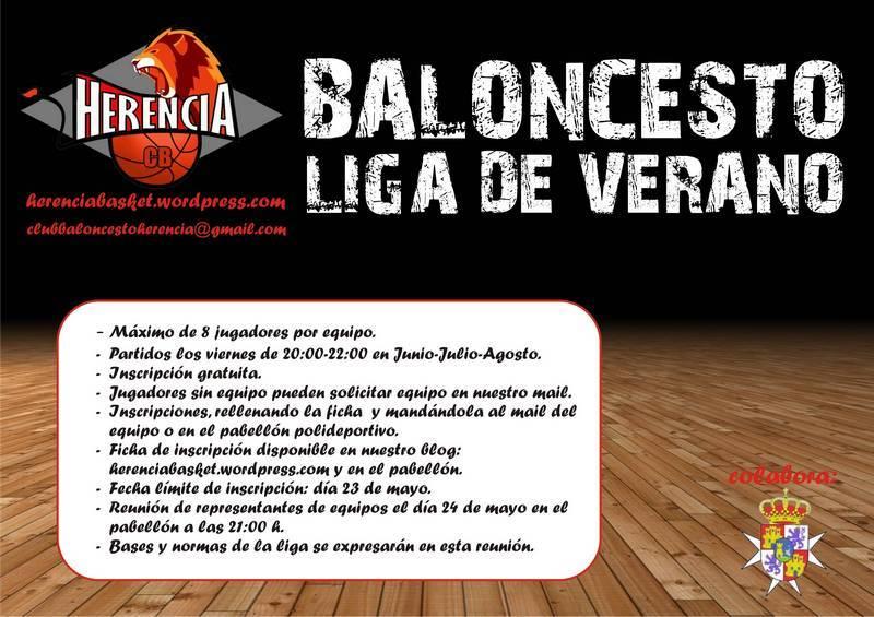 Cartel liga de verano de baloncesto de Herencia - Abierta la inscripción para la liga de verano de baloncesto de Herencia