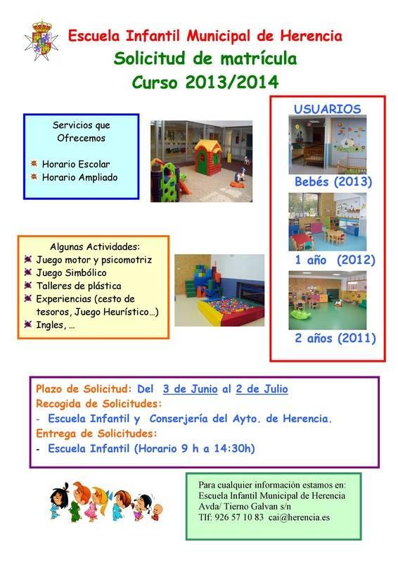 Cartel matriculación Escuela Infantil de Herencia