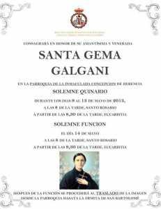 Herencia Quinario Santa Gema 2013 231x300 - Quinario en honor a Santa Gema