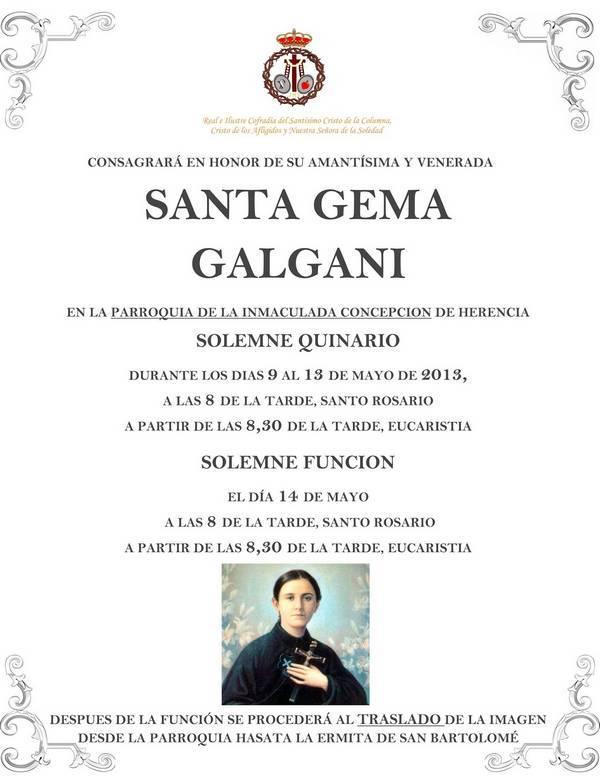 Herencia Quinario Santa Gema 2013 - Quinario en honor a Santa Gema