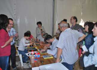 Taller de retratos del área de pintura de Herencia durante la Fiesta del Participante en Ciudad Real