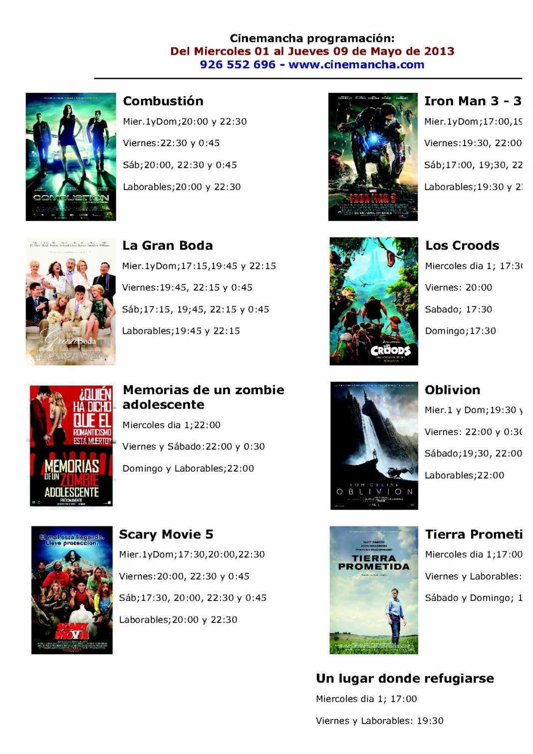 Programación Cinemancha miércoles 1 al 9 de mayo. 1