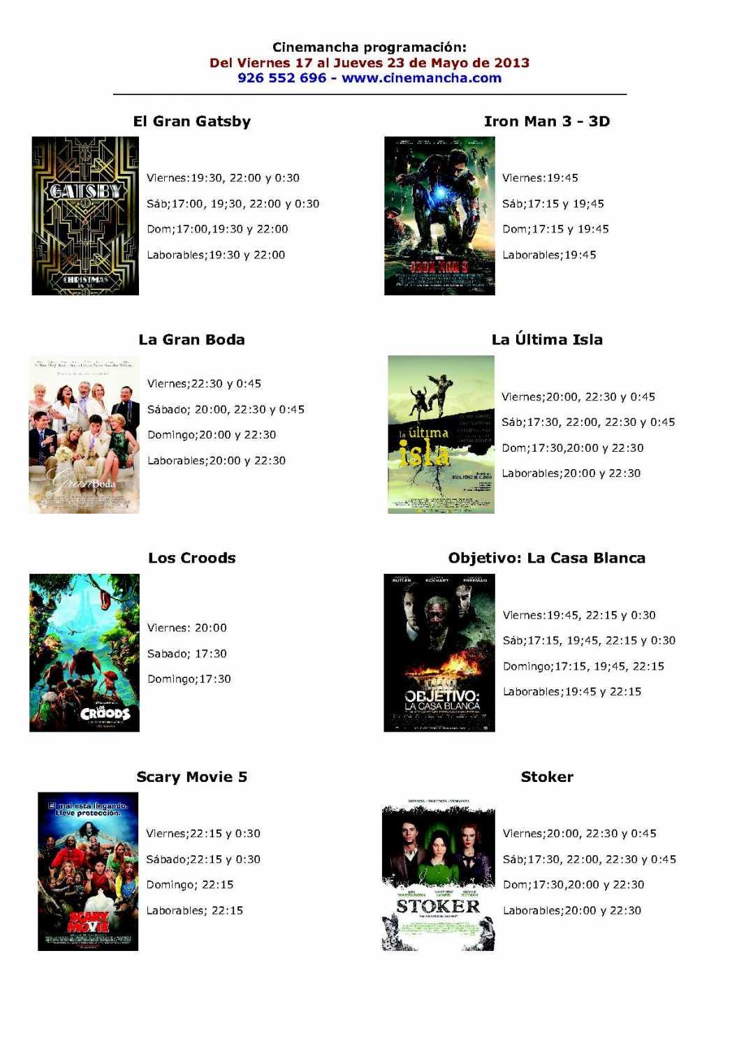 Cinemancha Programación. Del viernes 17 al jueves 23 de mayo. 1