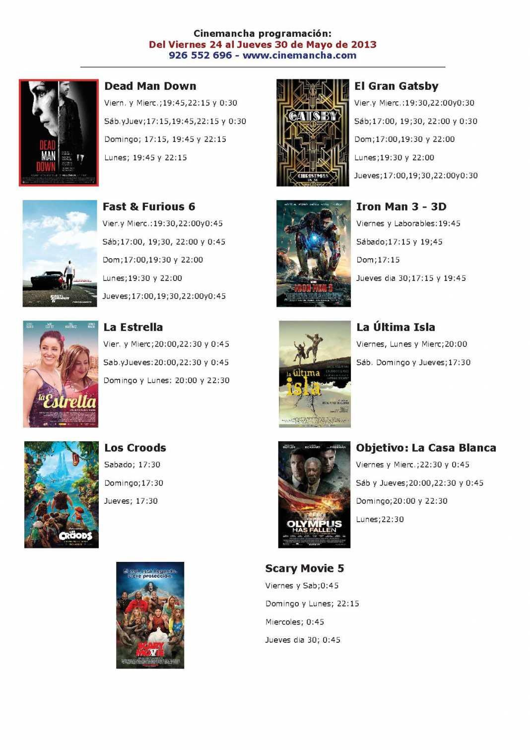 Programación Cinemancha del viernes 24 al jueves 30 de mayo 1