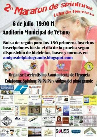 """Cartel concentraci%C3%B3n Spining 330x465 - Segundo maratón de Spinning """"Villa de Herencia"""""""