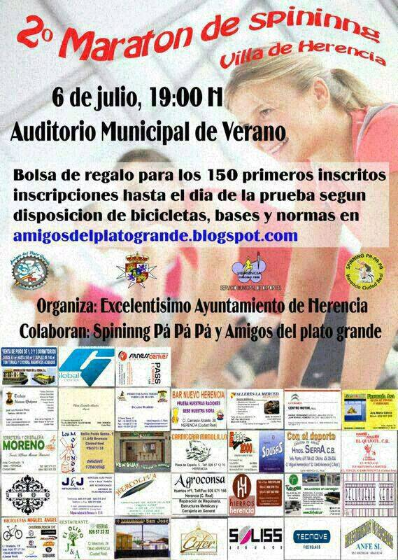 "Cartel concentración Spining - Segundo maratón de Spinning ""Villa de Herencia"""