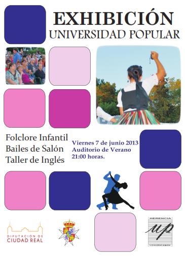 Cartel exhibición fin de curso Universidad Popular de Herencia - Herencia celebra su XXVII semana cultural