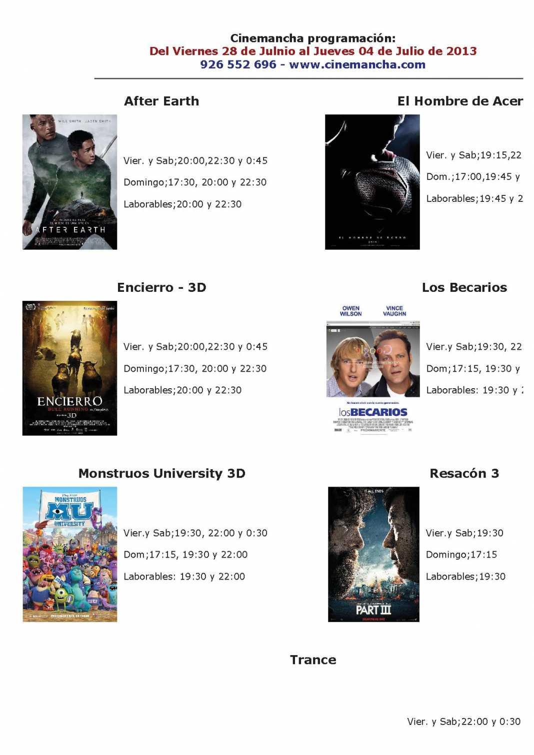 Programación Cinemancha del 28 de junio al 4 de julio 1