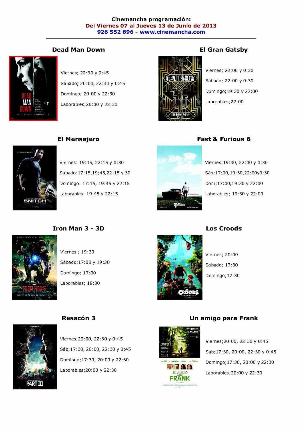 Programación Cinemancha del viernes 7 al jueves 13 de junio 1