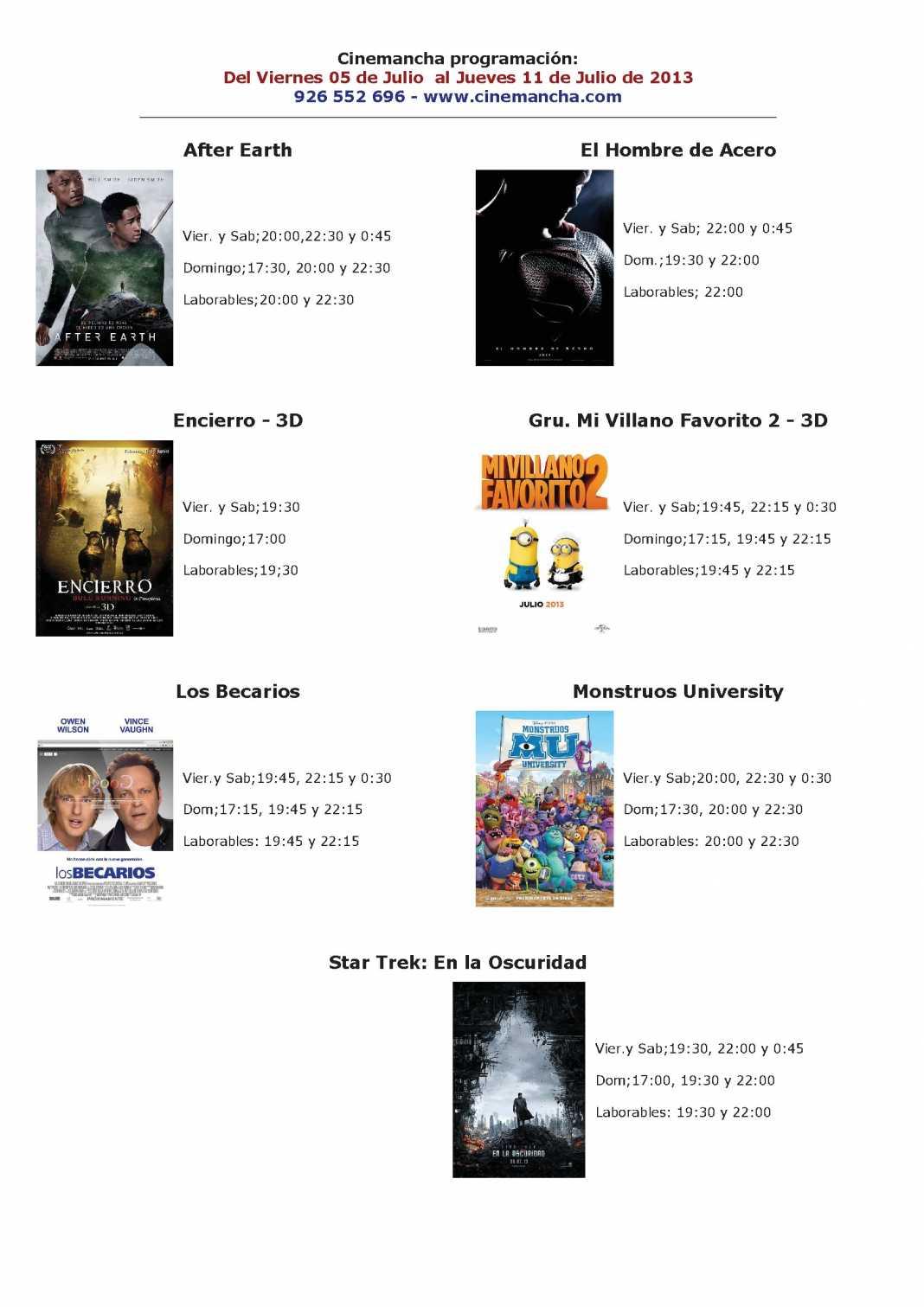 Programación Cinemancha del 5 de julio al 11 de julio 1