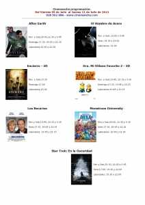 cartelera de multicines cinemancha del 05 al 11 de julio