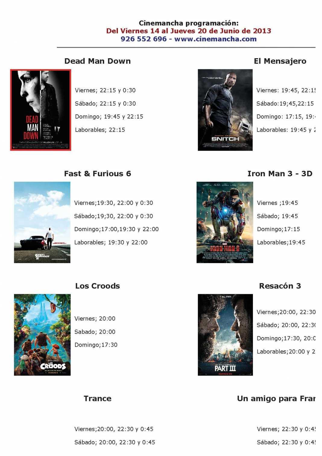 Programación Cinemancha del 14 al 20 de junio 1