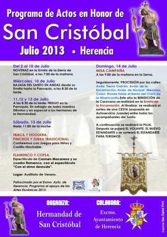 Cartel de San Cristóbal Herencia 328x465 - Programa de actos en honor a San Cristóbal