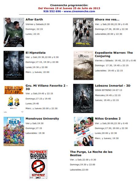Cartelera de Cinemancha del viernes 19 de julio al jueves 25 de julio