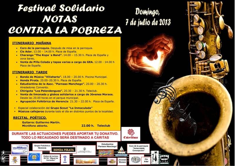 """NOTAS CONTRA LA POBREZA CARTEL 3 Herencia - Festival Solidario """"Notas contra la pobreza"""""""