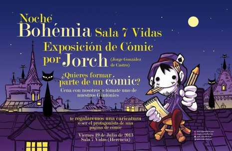 Noche bohemica 7vidas1 465x304 - Exposición de cómic en la sala 7 vidas