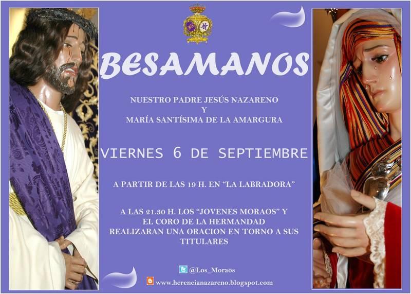 """Cartel besamanos hermandad de Los Moraos - """"Los Moraos"""" programan su besamanos de septiembre"""