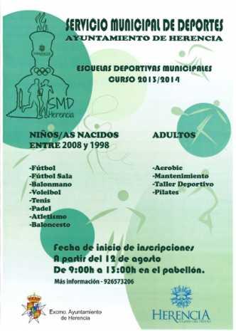 Cartel escuelas deportivas Herencia 2013 2014 332x465 - Abierto el plazo de matriculación para las escuelas deportivas