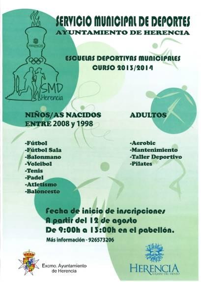 Cartel escuelas deportivas Herencia 2013 2014 - Abierto el plazo de matriculación para las escuelas deportivas