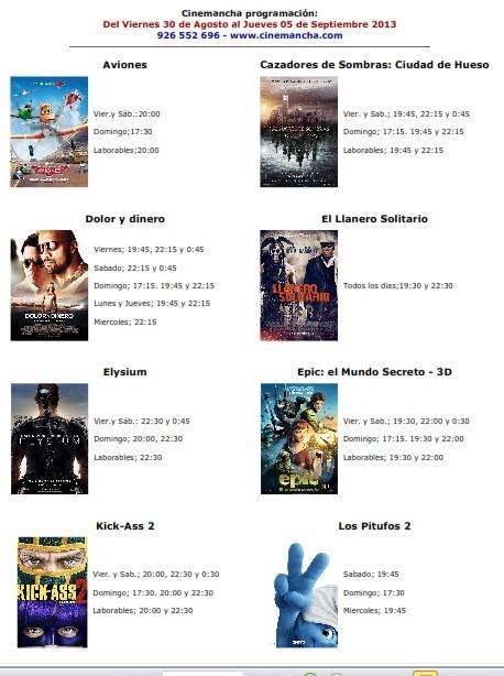 Programación Cinemancha del 30 de agosto al 5 de septeimbre