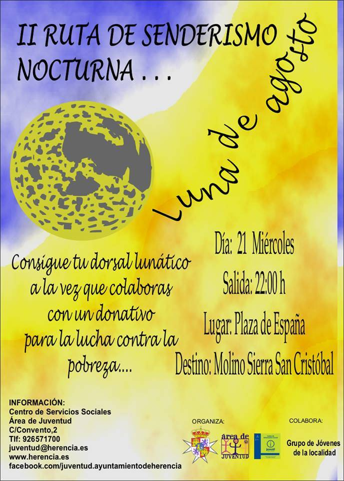 """Ruta de senderismo nocturna - Juventud organiza la II Ruta de Senderismo Nocturna """"Luna de Agosto"""""""