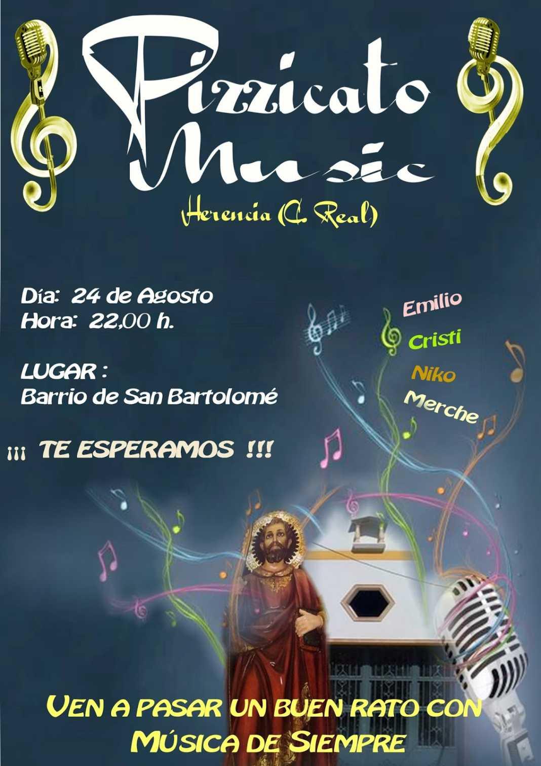 cartel concierto san bartolome Pizzicato Music Herencia 2013 1068x1511 - Pizzicato Music dará un concierto en las fiestas de San Bartolomé