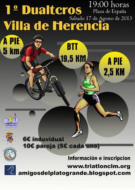 cartel dualtcros Herencia - Preparado el Primer Duatcross Villa de Herencia